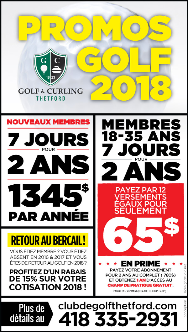 Promotions au Club de Golf et Curling de Thetford